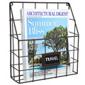 Metal Wire Wall Magazine Rack Bin Newspaper Rack Wall Mounted Mail Sorter with Chalkboard Label