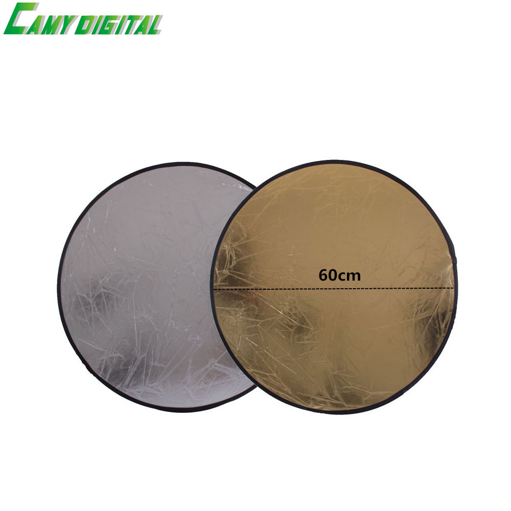 23/60CM Studio Flash Accessories 2in1 Gold & Silver Reflector Dish Board Plate circular For photography