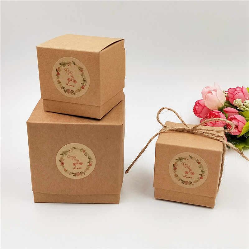 Retro Kraft Paper 2 Ukuran Kotak Mini Cute DIY Buatan Tangan Kue/Permen/Coklat/Perhiasan Kotak Kemasan Menerima Jenis kustomisasi