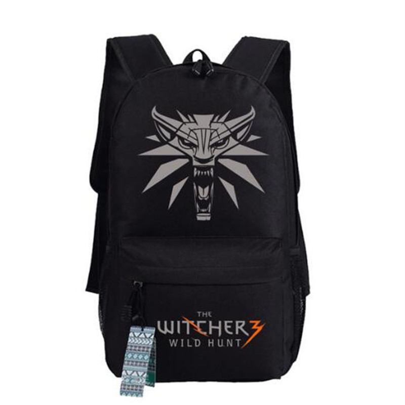 Game The Witcher 3: Wild Hunt Printing Backpack Unisex Canvas Student Book Shoulder Bags Xmas GiftGame The Witcher 3: Wild Hunt Printing Backpack Unisex Canvas Student Book Shoulder Bags Xmas Gift