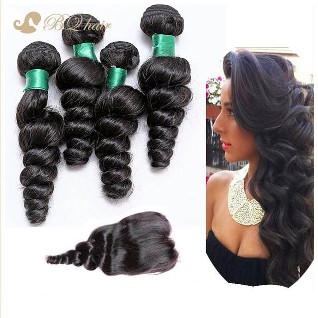 7A Rosa malásia solto Wave 4 pacotes com fechamento comprar rainha não transformados tecer cabelo humano virgem cabelo Lace encerramento com qualidade