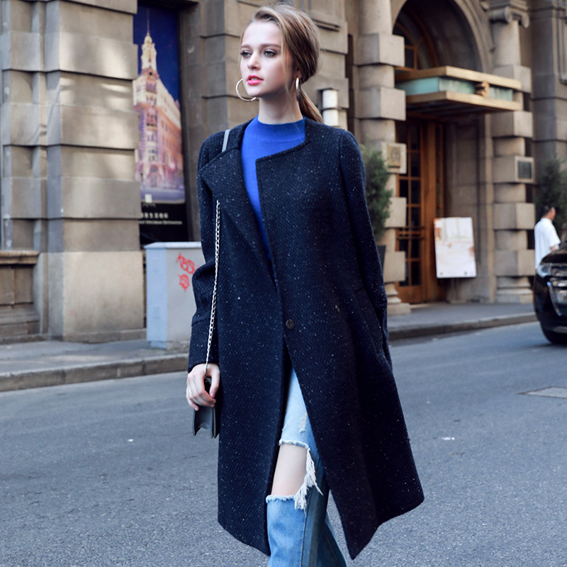 Lay Affordable Formal Woolen Full Long O-neck Single Breasted Long Sleeved Trench