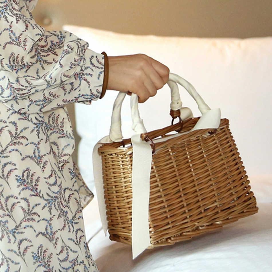 Солнечная пляжная новая сумка квадратная ротанговая женская сумка плетеная корзина квадратная плетёная ротанговая Повседневная сумка