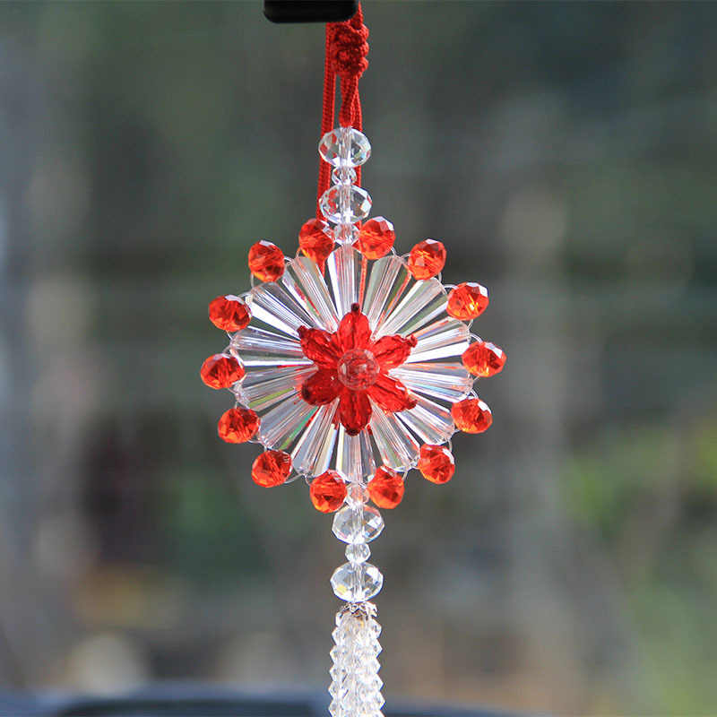 3 Styles Crystal Glass Hanging Crafts Car Rearview <font><b>Mirror</b></font> Ornaments Handmade Flower Home Decor Figurine Car Interior Accessories