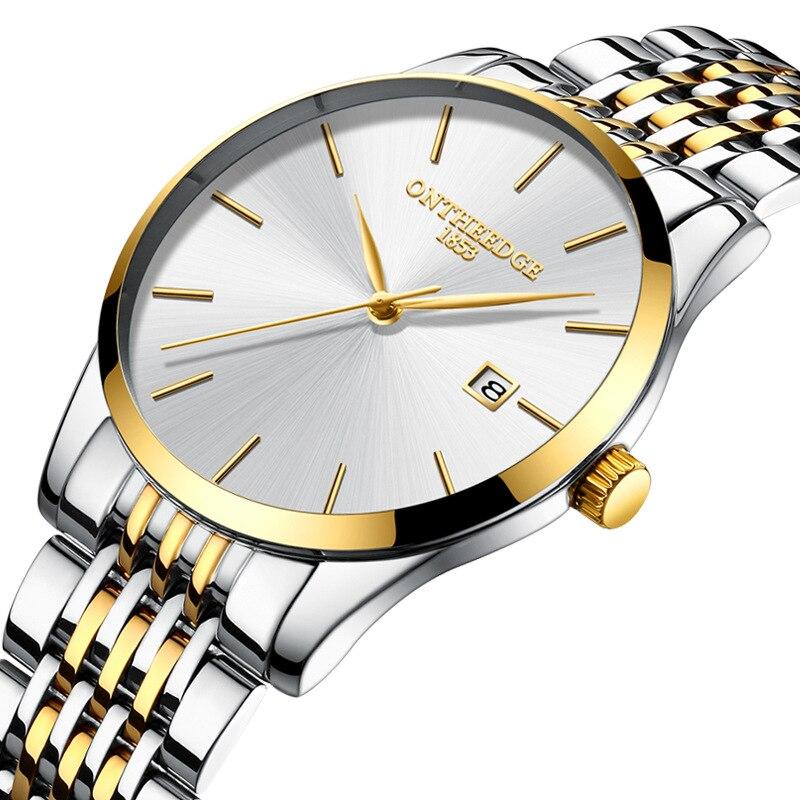 6346ba213f7 Marca de Luxo Calendário dos Homens Mens Relógios Top de Negócios Fina  Faixa Relógio Aço Inoxidável Quartzo Masculino ...