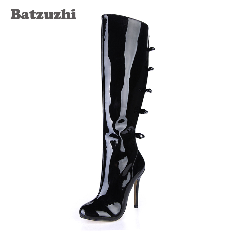 Batzuzhi 12CM 100% Handmade Luxury Women Boots Pointed Toe High Heels Long Boots Black Patent Leather Long Boots for Women Party batzuzhi 2018 handmade women shoes pointed toe 12cm long boots ladies white knee high party botas mujer winter big size 43