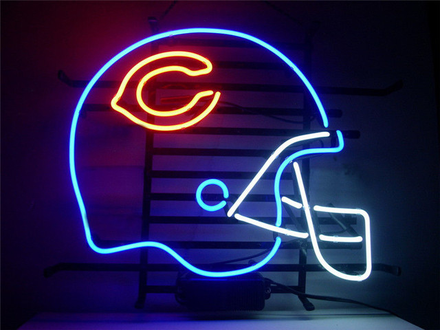 NEON SIGN For CHICAGO BEARS FOOTBALL HELMET SIGN Signboard REAL GLASS BEER  BAR PUB display christmas - NEON SIGN For CHICAGO BEARS FOOTBALL HELMET SIGN Signboard REAL