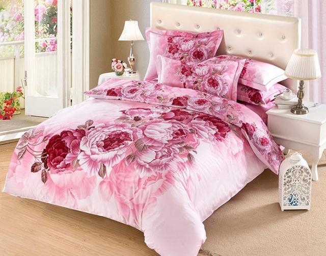 3d princess bedding sets pink big peony flower comforter set bed 3d princess bedding sets pink big peony flower comforter set bed sheet sets100 cotton oil painting mightylinksfo