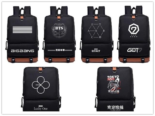 Kpop Bts got7 exo infinite  Fashion nylon Schoolbag Backpack Satchel bag