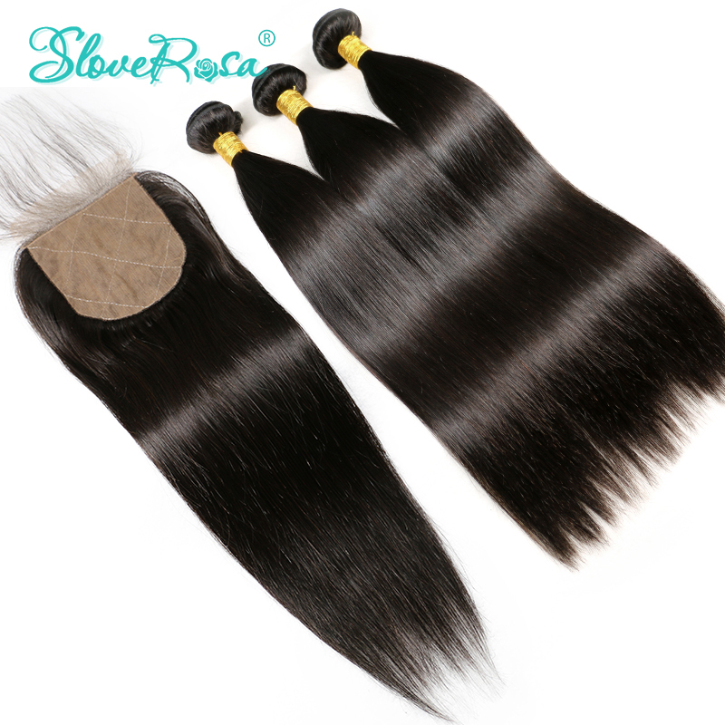 Silk Base Closure With Bundles Straight Human Remy Hair Brazilian Lace Closure 4 4 Bleached Knot