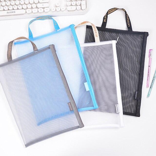 Solid Color Document Bag A4 A5 Transparent Gridding Zip Storage Bags Pen Filing Products Pocket Folder Office & School Supplies 5