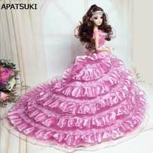 Pink Formal Wedding Dress For Barbie Doll Multi-layer Lace Rhinestone  Clothes For Barbie Dollhouse 1 6 BJD Doll Accessories bfc0eaa4b293