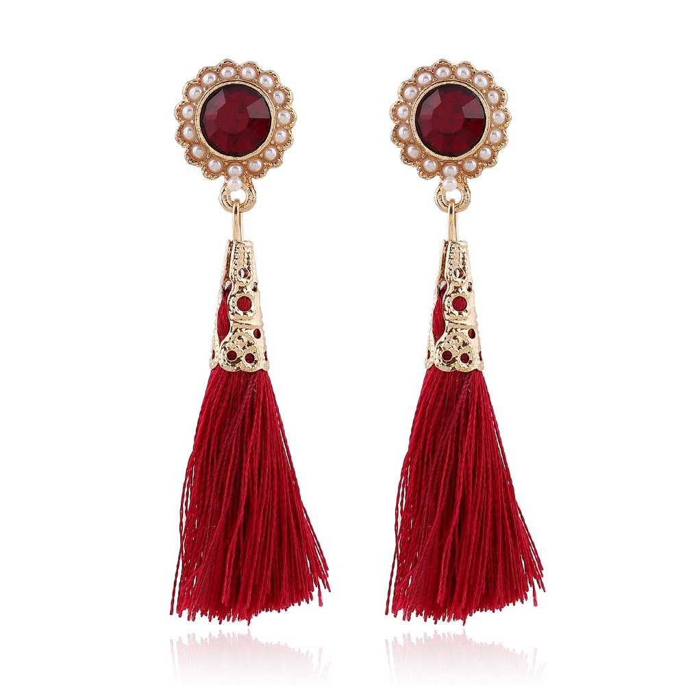 Vintage Flower Earrings Red Long Tassel Earrings Drop Boho Earrings Bohemian Style Gold Color Women Beach Jewelry Wholesale