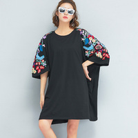 Women T Shirt dress Plus Size Summer Oversized Big Cotton Black Floral Embroidery dress 2018 O Neck Female Loose Tees Dresses