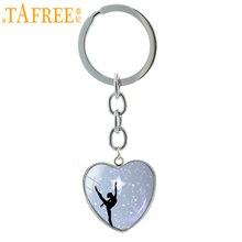 TAFREE Elegant Ballet Dancing keychain vintage Irish Dance Gymnastics Dancer Ballerina key chain ring Christmas jewelry HP145