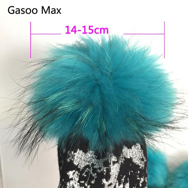5pcs/ lot DIY 14-15cm red black white grey Raccoon Fur pom poms fur balls for Beanies hat cap real fur pompoms
