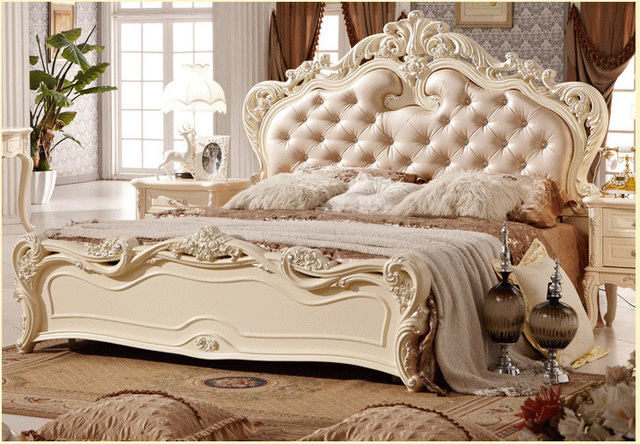 Free Shipping 2pcs Beds Set Bedroom Furniture Suite With White Solid Wood Frame And Royal Princess Style