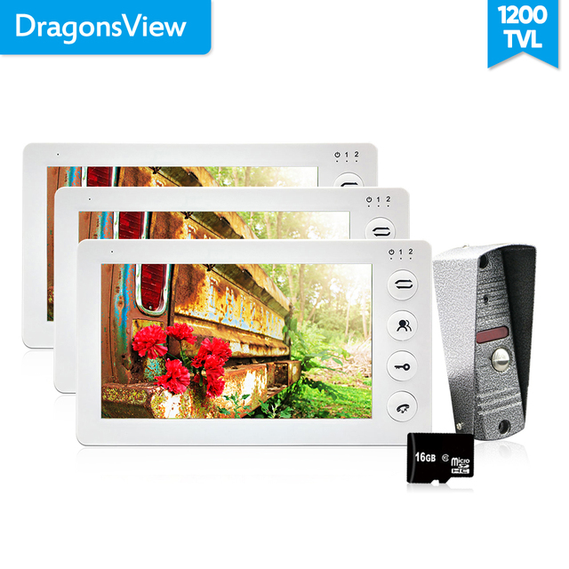 Dragonsview  7 Inch Video Door phone Intercom System  Doorbell with Camera 1200TVL 3v1 Record Unlock Dual Way Talk