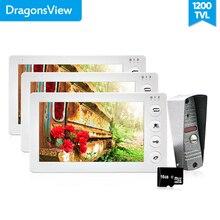 Dragonsview 7 Zoll Video Tür Sprechanlage Türklingel mit Kamera 1200TVL 3v1 Rekord Entsperren Dual Weg Sprechen