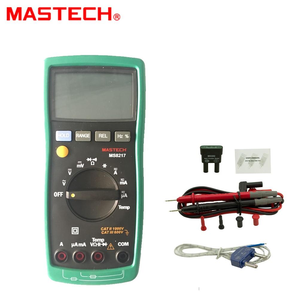 MASTECH MS8217 True RMS Digital Multimeter Meter AC/DC Voltage Current Resistance Capacitance Tester & Temperature Measurement my68 handheld auto range digital multimeter dmm w capacitance frequency