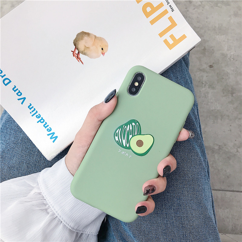 Summer Avocado scrub silicone soft case for iphone 7 8 6 6s plus xs max xr x cute smiley face matte phone case for iphone7 7plus in Fitted Cases from Cellphones Telecommunications