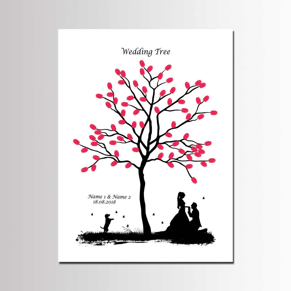 New Arrival Wedding Party Decoration Love Tree Fingerprint Signature Guest Book Anniversary DIY Cavas Painting 40*60cm with Ink