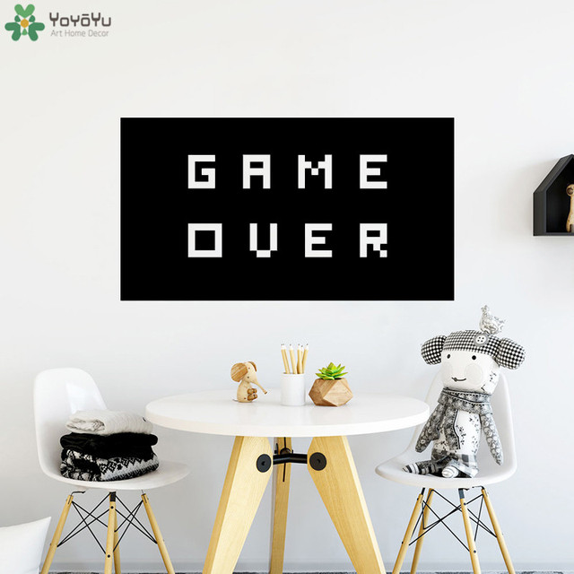 Creative Vinyl Wall Stickers Quotes Game Over Decal Removable Modern Fashion Home Decor Bedroom Art