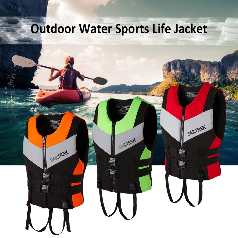 Neoprene Life Jacket Watersports Fishing Kayaking Boating Swimming Safety Life Vest Water Sports Survival Jacket Life Vest Black