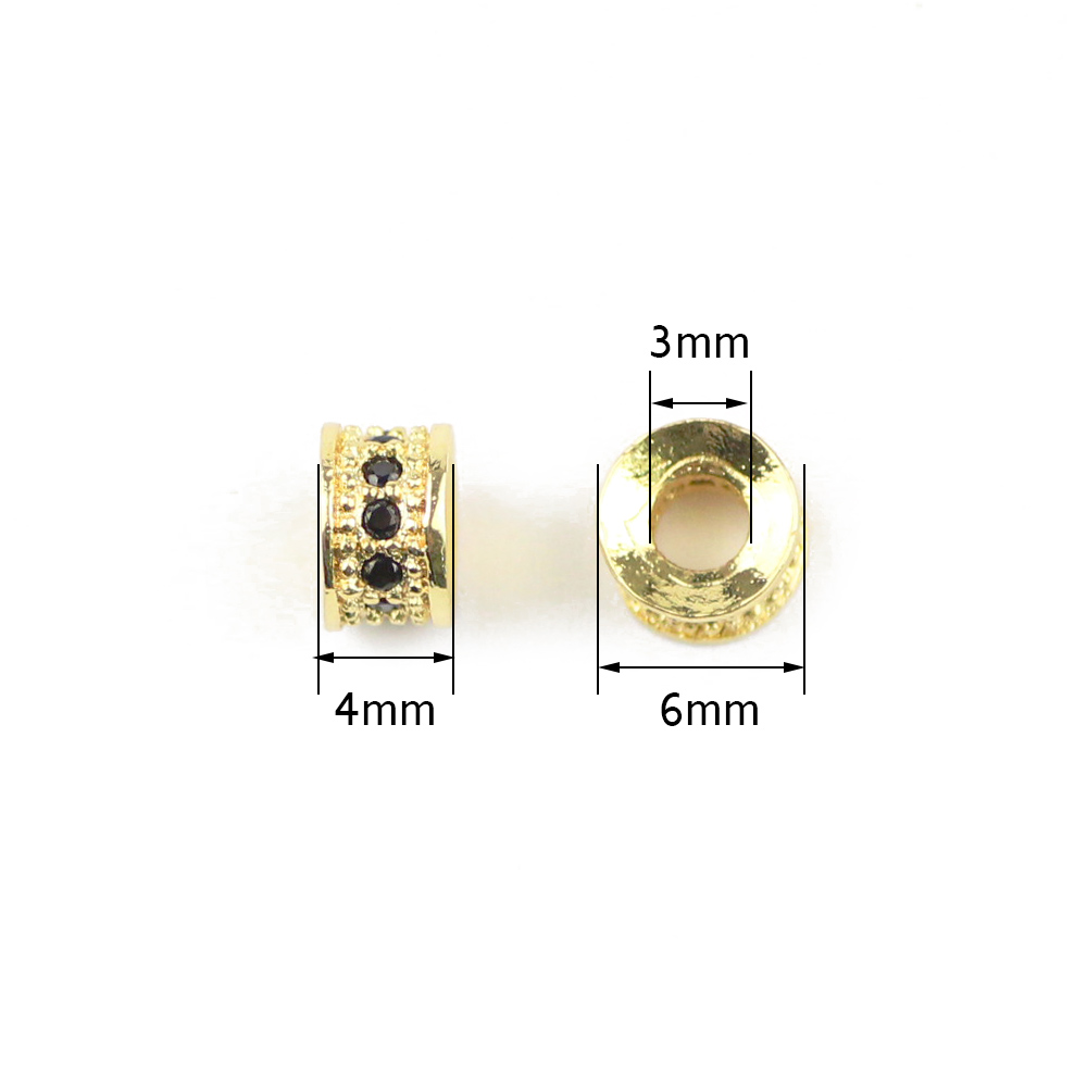 WLYeeS 4pcs flat Round Black Zircon Copper Spacer bead 6mm cylinder Pendants Charm Metal Loose bead Jewelry making DIY bracelet in Beads from Jewelry Accessories