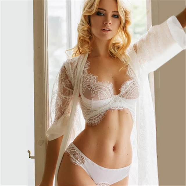 58619f16b5da women sexy bra set lace transparent push up women lingerie bralette  seamless thong panties wire free