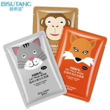 BISUTANG Cute Cat Monkey Fox Animal Mask Moisturizing Whitening Oil Control Nourishing Hydrating Skin Care Face Mask
