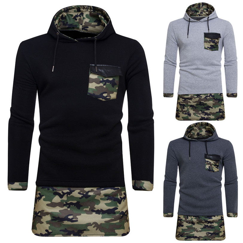 Men Coat 2017 MensAutumn Winter Camouflage Long Sleeve Hoodie Hooded Pullover Sweatshirt Coat Jacket Outwear S-2XL Oct 18