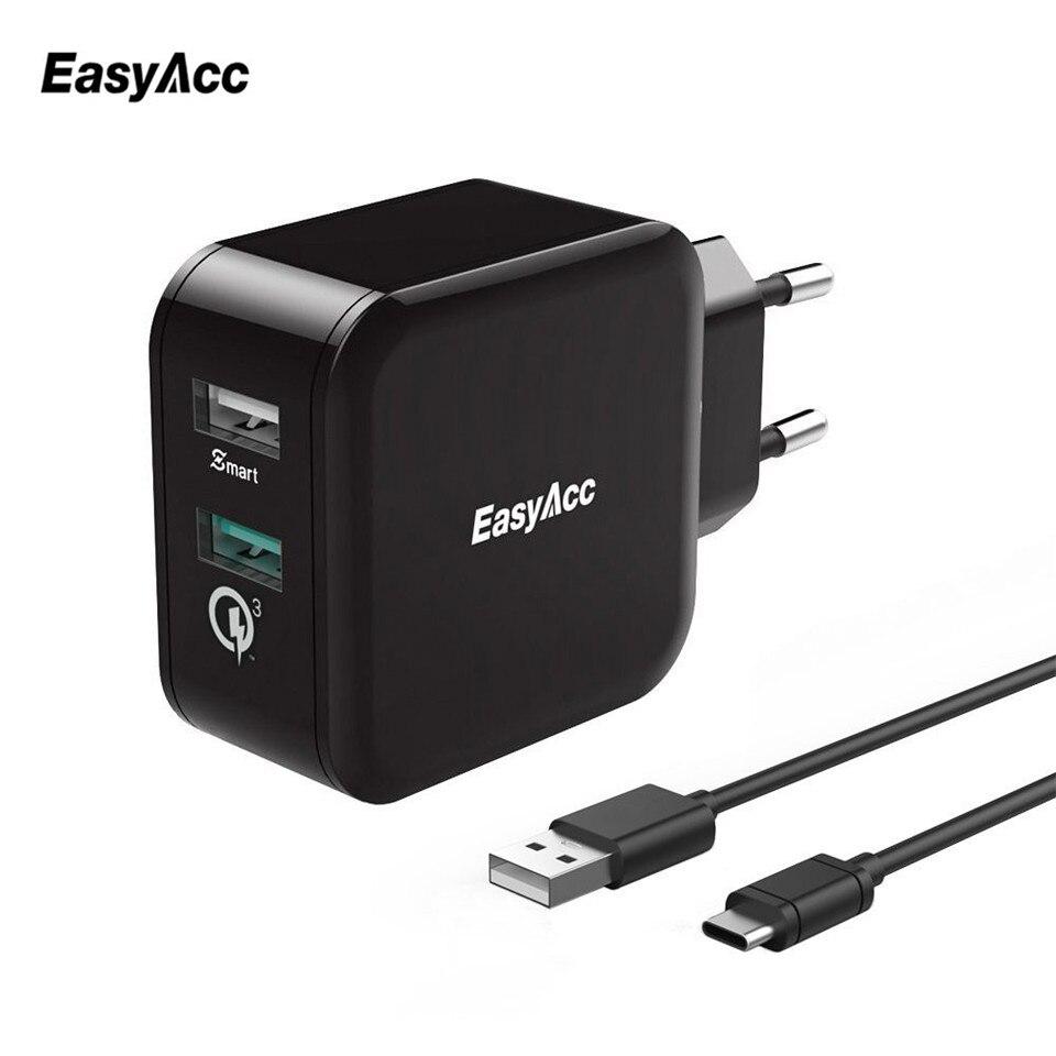 EasyAcc 30 W 4.8A chargeur Charge Rapide 3.0 2-Port Smart Adaptateur Avec 100 cm Type C Câble Téléphone Chargeur