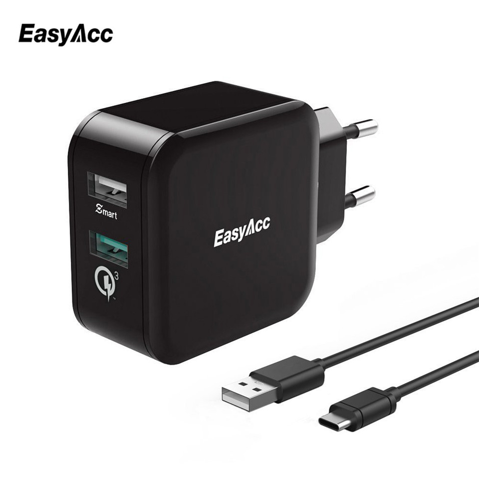 EasyAcc 30W 4.8A charger Quick Charge 3.0 2-Port Smart Adapter With 100cm Type C Cable Phone Charger