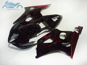 Free Custom Fairing kits for Suzuki K3 K4 GSXR1000 03 04 full set motorcycle fairings kit GSXR 1000 2003 2004 red flames BD31