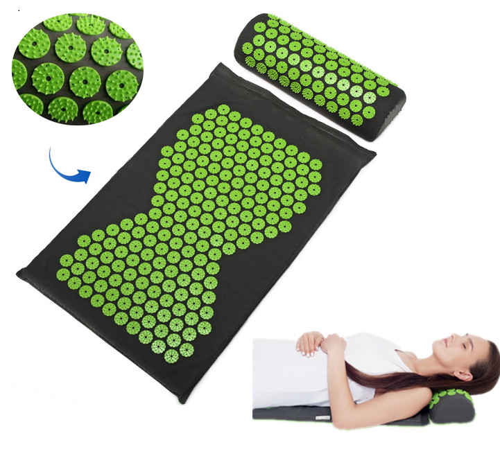 Relieve Acupressure Mat Body Pain Acupuncture Spike Yoga Mat with Pillow Massager (appro.67*42cm)Cushion Mat Massager