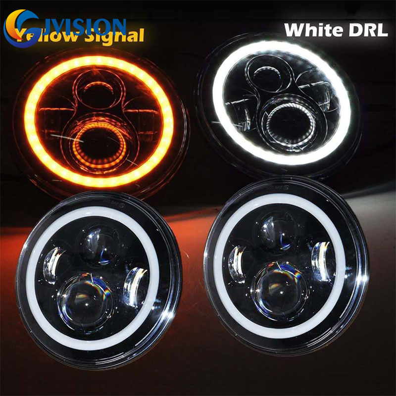 4x4 Off road 7inch led headlight DRL Amber turn signal lamp 40W Car led projector Daymaker headlamp for Jeep Wrangler Lada Niva 4pcs black led front fender flares turn signal light car led side marker lamp for jeep wrangler jk 2007 2015 amber accessories