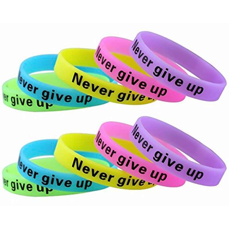 """Never give up"" Motivatie Armbanden Silicone Rubber Band Polsbandjes Sieraden Inspirational Armbanden Geschenken"