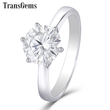Transgems 14 k 585 ouro branco moissanite diamante anel de noivado para mulheres fine jewelry center 2ct f cor moissanite anel