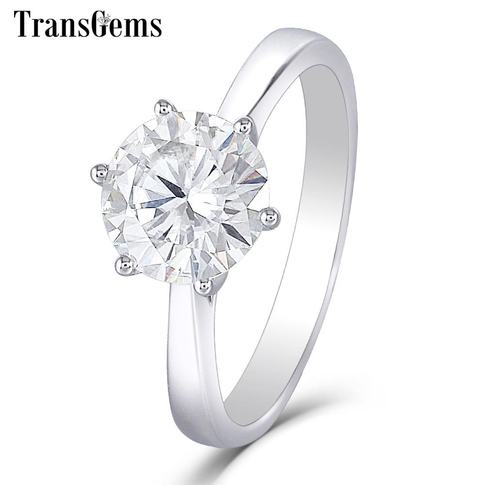 Transgems 14K 585 White Gold  Moissanite Diamond Engagement Ring for Women Fine Jewelry Center 2ct F Color Moissanite Ring-in Rings from Jewelry & Accessories