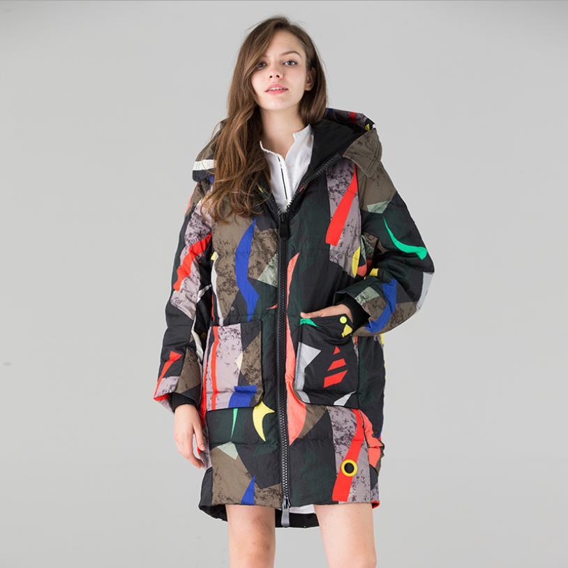 2018 winter new fashion brand print   down     coats   female long sleeve thicken White duck   down   jackets women warm outerwear gx1660