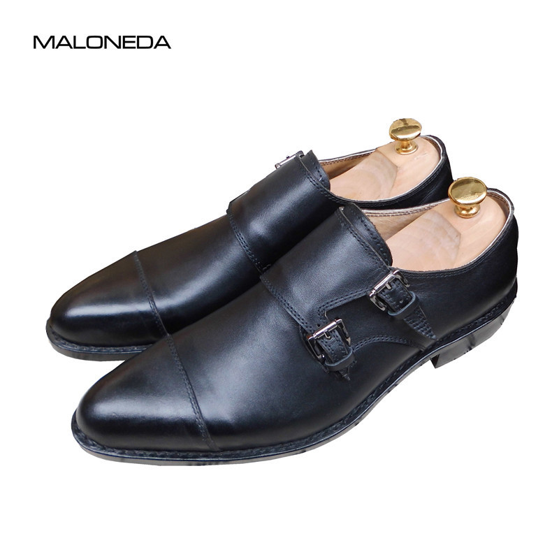 MALONEDA Pure Hand made Genuine Leather High-quality Double BuckleS Monk-strap Formal Dress Shoes Slip on With Goodyear Welted
