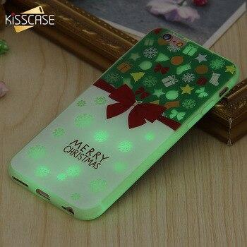 KISSCASE Noël Lumineux À Motifs Pour iPhone 7 6 6 s En Silicone Souple Rougeoyante Nouvel An Coques Pour iPhone 7 6 6 s Plus Capa