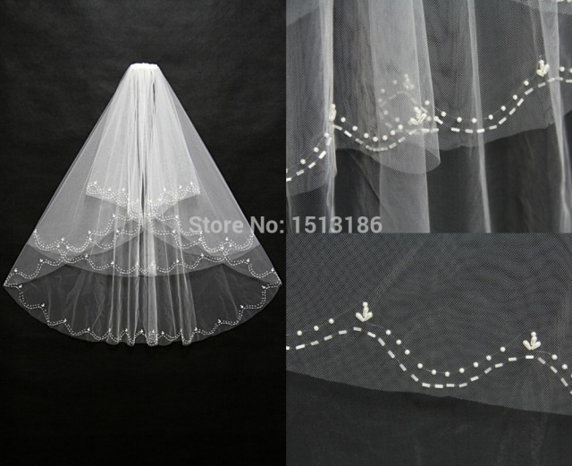 Shiny Pearls Crystals Edge Wedding Veils Hot Sale Bridal Veil High Quality Three Layers Tulle Wedding Accessories xy82
