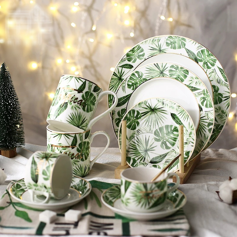 Tropical Leaf Porcelain Plate Ceramic Monstera Dinner