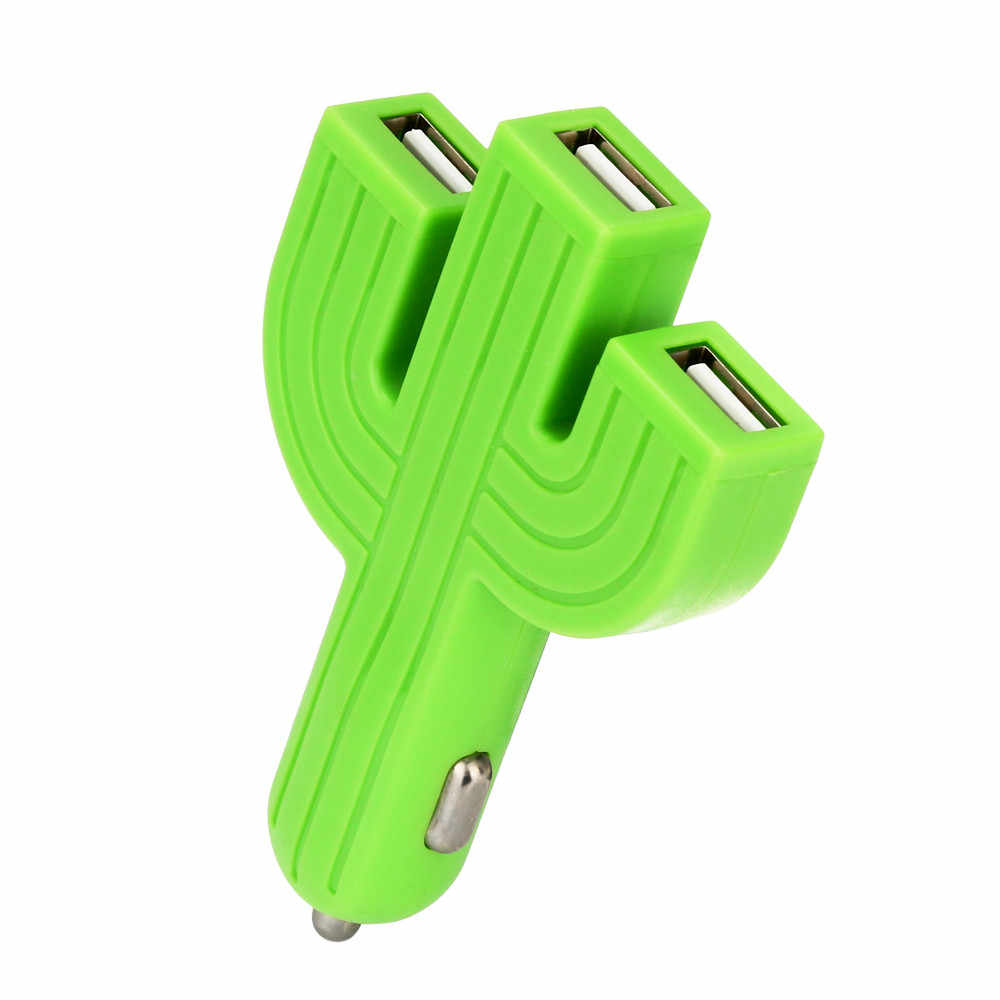 CARPRIE 2019 New Car Charger 1PC Mobile Phone iPod Blackberry Charger Green Plastic Cactus Multifunction 3USB Mini size 904151