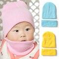 11 Colores Bufanda Del Sombrero Del Bebé de Invierno 2016 Algodón de Moda Bebé gorras Y Sombreros Para Niños Niñas Solid Bebé Recién Nacido Fotografía Sombreros