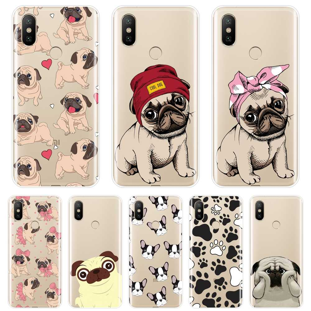 Pug French Bulldog Puppy Phone Case For Xiaomi Mi 5 5C 5S 5X 6 6X Plus Soft Silicone Back Cover For Xiaomi Mi A1 A2 8 Lite SE