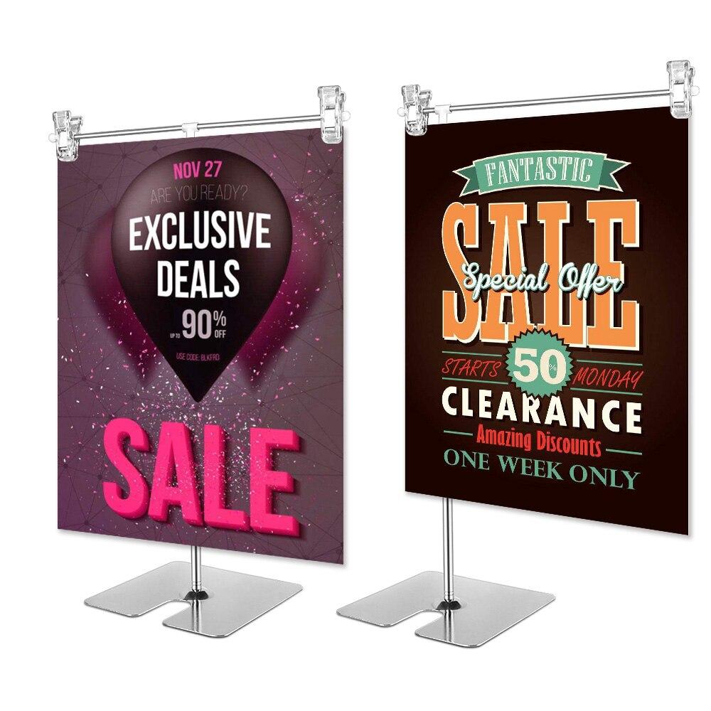 Height Adjustable Display Stainless Steel Poster Clip Promotion Sign Holder Sales Cardboard Display Racks Stand