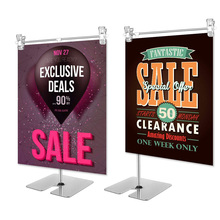 Height adjustable display stainless steel poster clip promotion sign holder sales cardboard racks stand